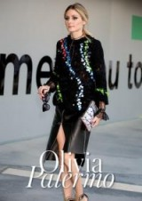 Olivia Palermo carrying a meli melo On the Go Clutch in Silver Splatter