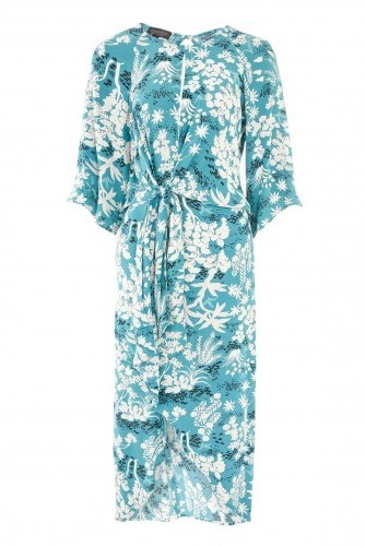 TOPSHOP Oriental Fern Knot Front Shift Dress - flipped