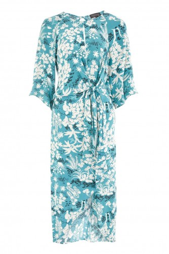 TOPSHOP Oriental Fern Knot Front Shift Dress
