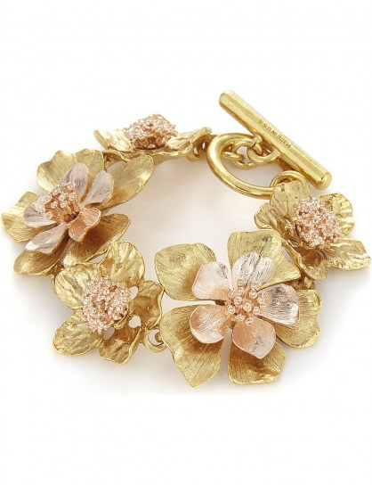 OSCAR DE LA RENTA Bold flower bracelet / gold tone floral bracelets / statement jewellery