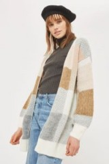 Topshop Oversized Checked Cardigan | neutral patchwork pattern cardigans
