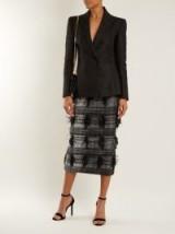 CARL KAPP Palm Fancy tweed pencil skirt ~ straight fringed midi skirts