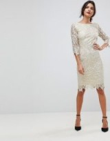 Paper Dolls Sequin Crochet 3/4 Sleeve Pencil Dress / cream and gold sequinned party dresses
