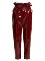 ISA ARFEN Paperbag-waist straight-leg cropped trousers | red high shine pants