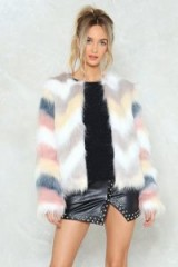 Nasty Gal Pastel Multi Coloured Faux Fur Jacket ~ fluffy chevron design jackets ~ pastels