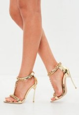MISSGUIDED peace + love gold chain embellished sandal – metallic t-bar heels