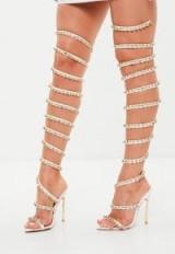 peace + love slinky embellished high leg heel – strappy party heels