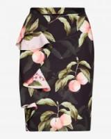 TED BAKER BLAYYKE Peach Blossom ruffle midi skirt | black ruffled pencil skirts