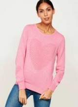 MINT VELVET PEONY OTTOMAN HEART KNIT / pink round neck jumpers