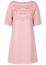 BOUTIQUE MOSCHINO Pink logo-embroidered dress / designer shift