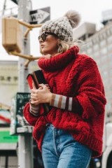 Chunky red cable knit jumper