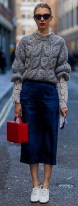Chunky textured sweater over lace top