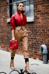 Style on the street | camel & red leather | NYFW