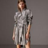 Burberry Pintuck Detail Silk Lamé Shirt Dress – shiny silver dresses – party season