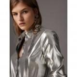 Burberry Pintuck Detail Silk Lamé Shirt Silver – metallic shirts