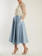 ROCHAS Pleated duchess-satin midi skirt | sky-blue full skirts