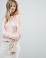 Polo Ralph Lauren Classic Cable Knit Jumper – pale pink crew neck jumpers – casual luxe