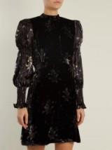 REBECCA TAYLOR Puff-sleeve violet-print velvet dress ~ feminine dresses