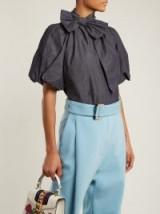 NO. 21 Puff-sleeved denim top ~ feminine bow neck tops