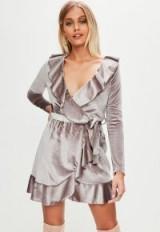 Missguided purple velvet plunge tie waist tea dress | ruffle trim dresses