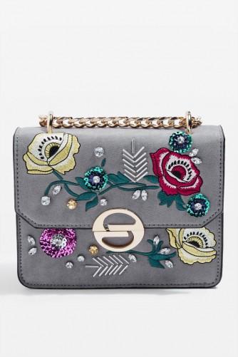 Topshop RAE Floral Embroidered Cross Body Bag | Grey Embellished C ... | SnapFashionista.com