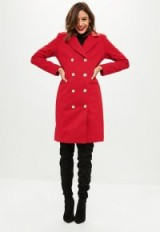 MISSGUIDED red longline button detail wool coat