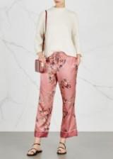 JOIE Reeda floral-print satin trousers ~ silky pink pants