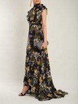 ERDEM Riva passion flower-print ruffle-trimmed silk gown ~ feminine floral print gowns