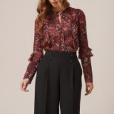 L.K. BENNETT ROBIN RED FLORAL SILK WOVEN TOP ~ frill sleeved tops
