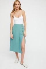 Free People Roman Holiday Midi Skirt   slit sea green skirts