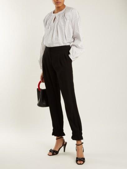 SONIA RYKIEL Ruffled-cuff satin-crepe trousers