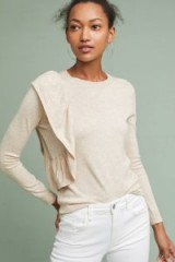 MOTH Ruffle-Draped Jumper / cream ruffled jumpers / fine knitwear