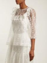SIMONE ROCHA Ruffle-trimmed floral-lace top – white semi sheer tops – feminine blouses