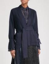 SACAI Chiffon-trimmed belted cardigan ~ feminine cardigans