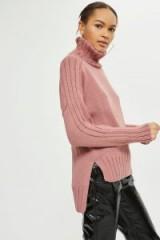 Topshop Saddle Shoulder Roll Neck Jumper | rose-pink step hem jumpers