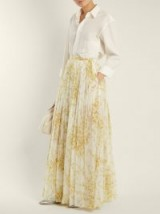 BROCK COLLECTION Sade sweet-pea print gathered cotton skirt ~ long yellow floral pleated skirts