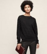 Reiss SAFFI SHEER-STRIPE JUMPER BLACK ~ chic round neck jumpers