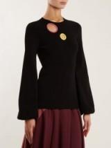 ROKSANDA Saher blouson-sleeve cut-out sweater ~ chic black sweaters