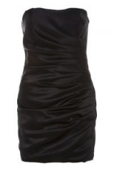 Topshop Satin Dress by Boutique – black strapless ruched party dresses