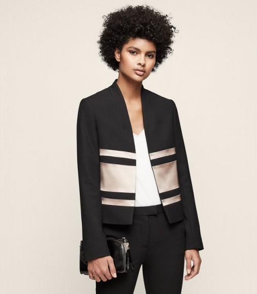 REISS SELDA COLOUR-BLOCK CROPPED JACKET BLACK ~ colourblock evening jackets
