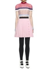 $299.00 Self Portrait Bellis Lace Trim Mini Dress With Pleated Crepe
