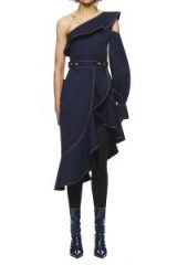 $318.00 SELF PORTRAIT CANVAS ASYMMETRIC FRILL DRESS