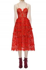 $309.00 Self Portrait 3d Floral Azaelea Lace Dress In Tomato Red
