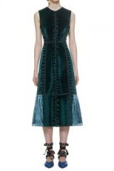 Self Portrait Two Tone Velvet Midi Dress In Forest Green