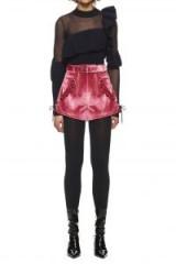 $229.00 Self Portrait Velvet Double Zip Shorts Pink
