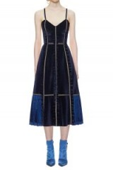 $329.00 Self Portrait Velvet Panelled Midi Dress In Midnight Blue