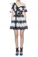 $329.00 Self Portrait Wave Guipure Lace Frill Mini Dress