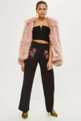 TOPSHOP Sequin Embellished Wide Leg Trousers / black floral beaded pants