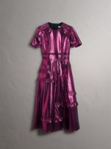 Burberry Short-sleeve Ruffle Detail Lamé Dress Bright fuchsia / luxe dresses / shiny pink