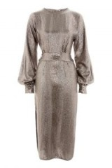 TOPSHOP Silver Batwing Midi Shift Dress – metallic vintage style party dresses – evening luxe – glamour